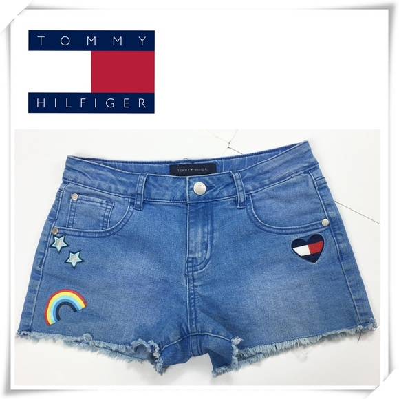 Tommy Hilfiger Other - Tommy Hilfiger Patchwork Raw Hem Denim Shorts Girl